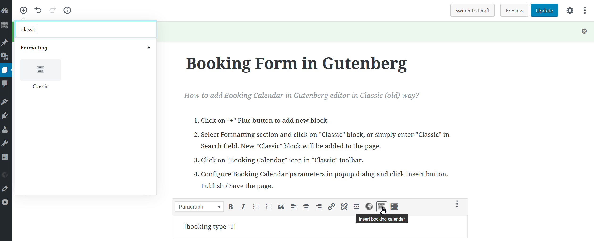 Add Booking Calendar in Gutenberg editor in Classic (old) way