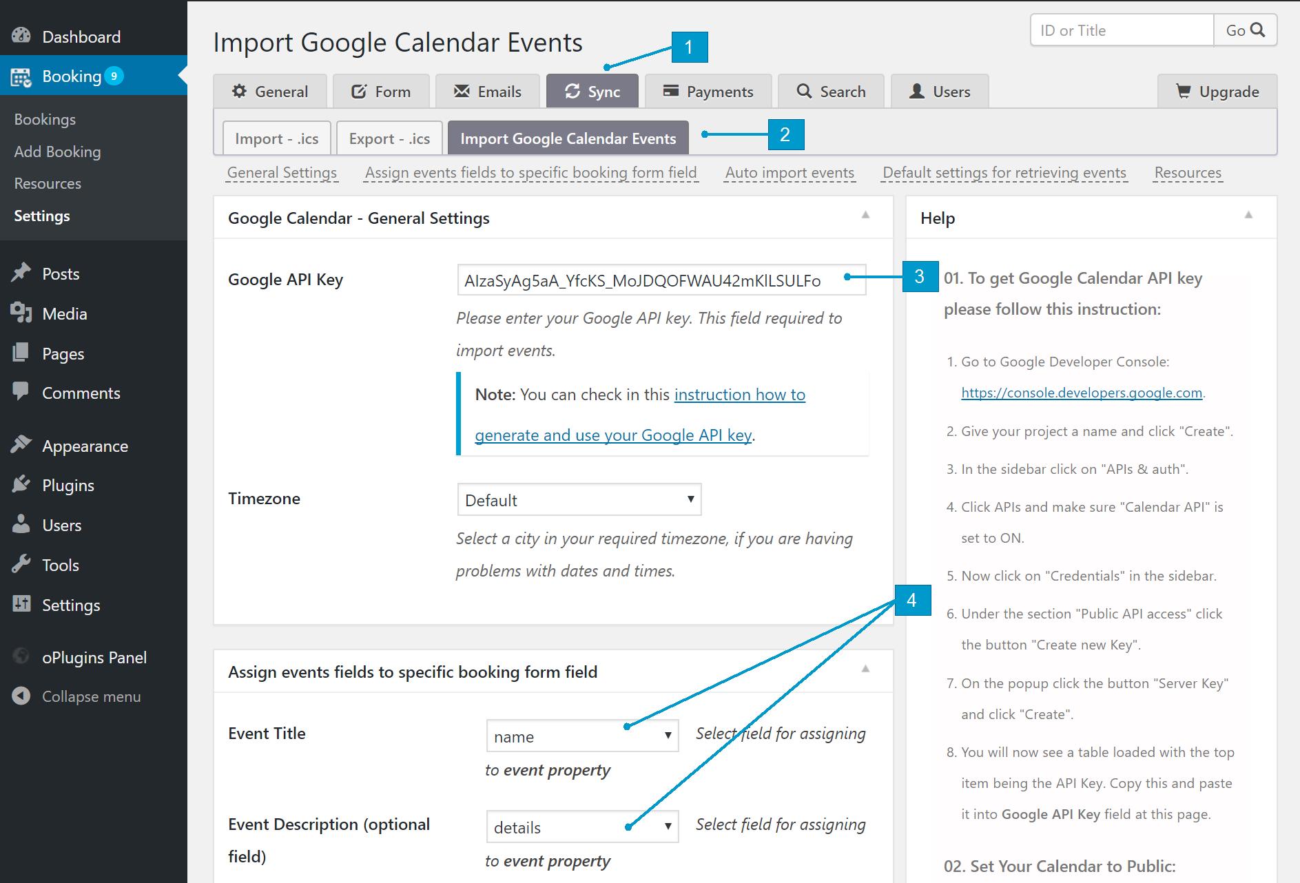 Configuration import events from public Google Calendar