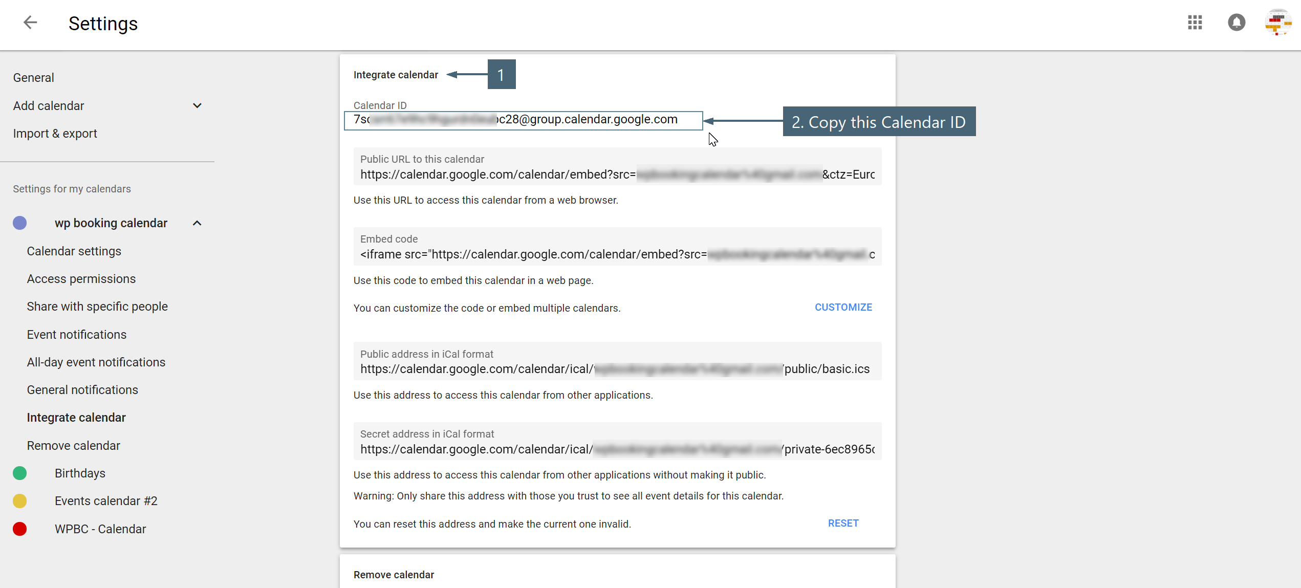 Configuration Import Events From Public Google Calendar Booking