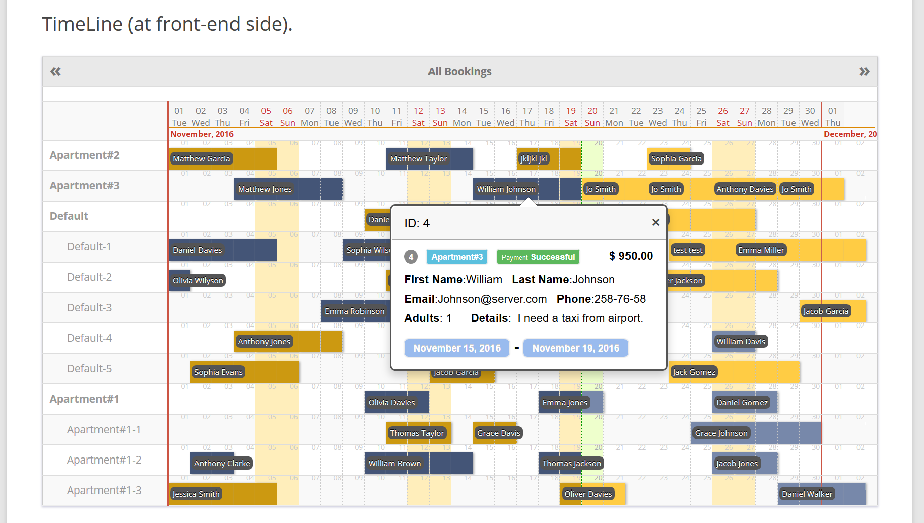 Booking-Calendar-timeline-front-end