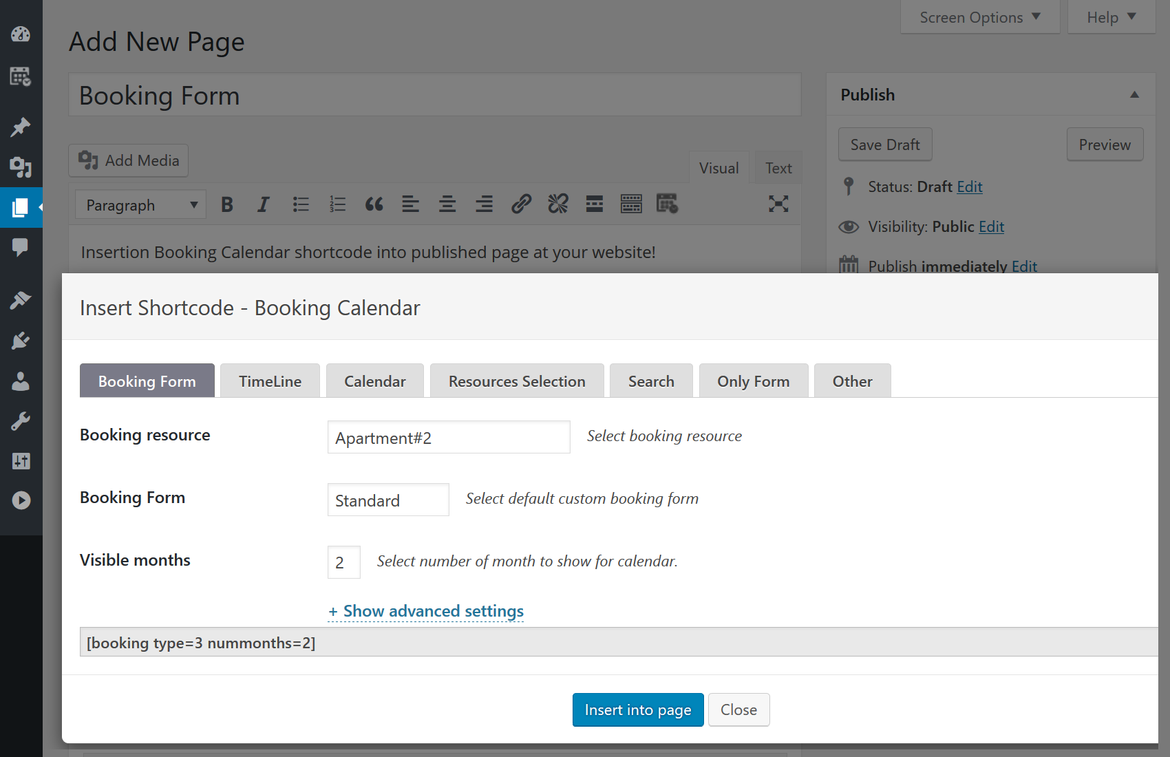booking-calendar-insert-shortcode-in-page